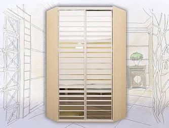 Шкаф-купе угловой 2-х дверный с зеркалами