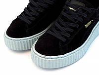 Кроссовки женские Puma Suede Creeper x Rihanna PeacotCool Blue. пума риана, магазин обуви дисконт