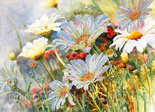 """Рисунок на ткани для вышивания бисером """"Полевые цветы"""", фото 2"""