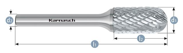 Борфрезы, цилиндр со сферическим концом WRC(Тип C) без покрытия