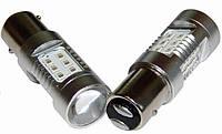 Светодиодные лампы LED/линза P21W/5W (21-SMD)(12V)(3535)(Красный)