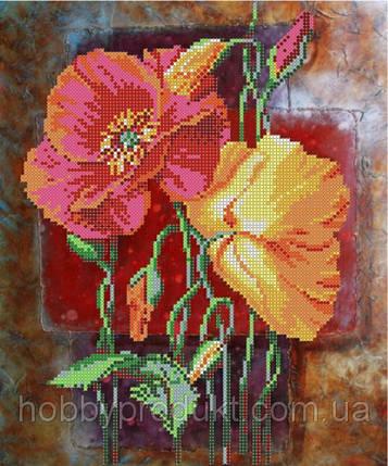 """Рисунок на ткани для вышивания бисером """" Маковки"""", фото 2"""