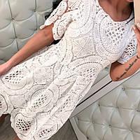 Платье Ажурное Роскошное Дорого Смотрится Качественное  Кружево Белое Платьице Пудра