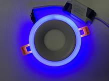 Светодиодный декоративный светильник RIGHT HAUSEN Rim 3+3W 4000K (синяя подсветка) белый Код.58859, фото 3