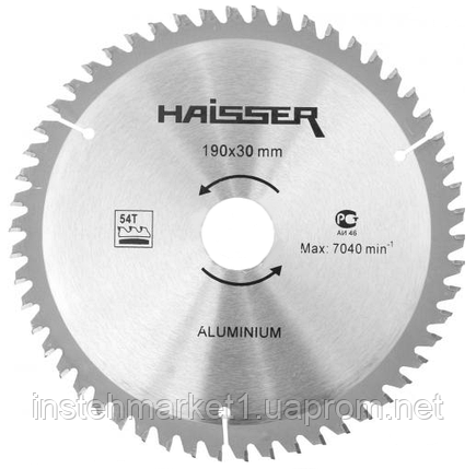 Диск пильный Haisser 190х30 54 зуб по аллюминию (отрицательный зуб), фото 2