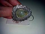 Кольцо с натуральным камнем пренит капский изумруд в серебре. Размер 17. Кольцо с пренитом Индия , фото 4
