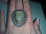Кольцо с натуральным камнем пренит капский изумруд в серебре. Размер 17. Кольцо с пренитом Индия , фото 5