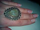 Кольцо с натуральным камнем пренит капский изумруд в серебре. Размер 17. Кольцо с пренитом Индия , фото 2