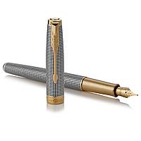 Серебренная перьевая ручка Паркер с золотым пером