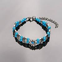 Браслет  детский Полумесяц со звездой голубые бусины 18-24см