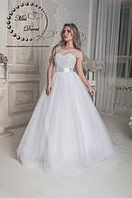 Свадебное платье бежевое (айвори) расшитое бусинами
