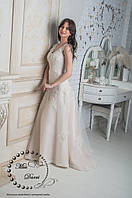 Свадебное платье айвори с персиковой подсветкой