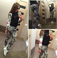 Женский спортивный костюм Adidas мрамор двухнитка