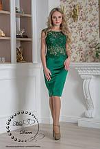Вечернее коктейльное платье карандаш зеленое