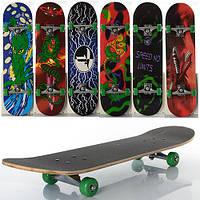 Скейт,скейборд детский, алюм.подвеска, колеса ПВХ, 7 слоев, 6 видов, макс. нагр. 40кг, разобрной