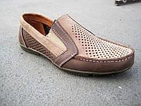 Туфли мокасины детские подростковые кожаные летние 32-39 р