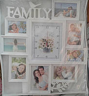 Фоторамка коллаж Family с часами 8фото (9х13-2,10х15-5,13x18-1) бел.34v2-57