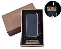 Газовая USB-зажигалка Black №4818-4, зажигалка 2 в 1, нормальное пламя, спираль накаливания, кремниевый запал