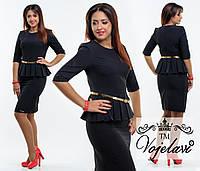 Элегантное платье с баской в складку (батал)