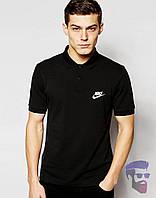 Футболка мужская поло с воротником черная Nike Найк