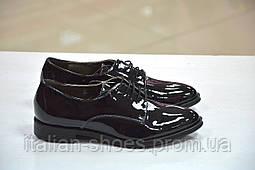 Женские туфли на шнуровке оксфорды лаковые чёрные  Marco