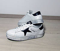 Женские белые кожаные кроссовки (звезды)