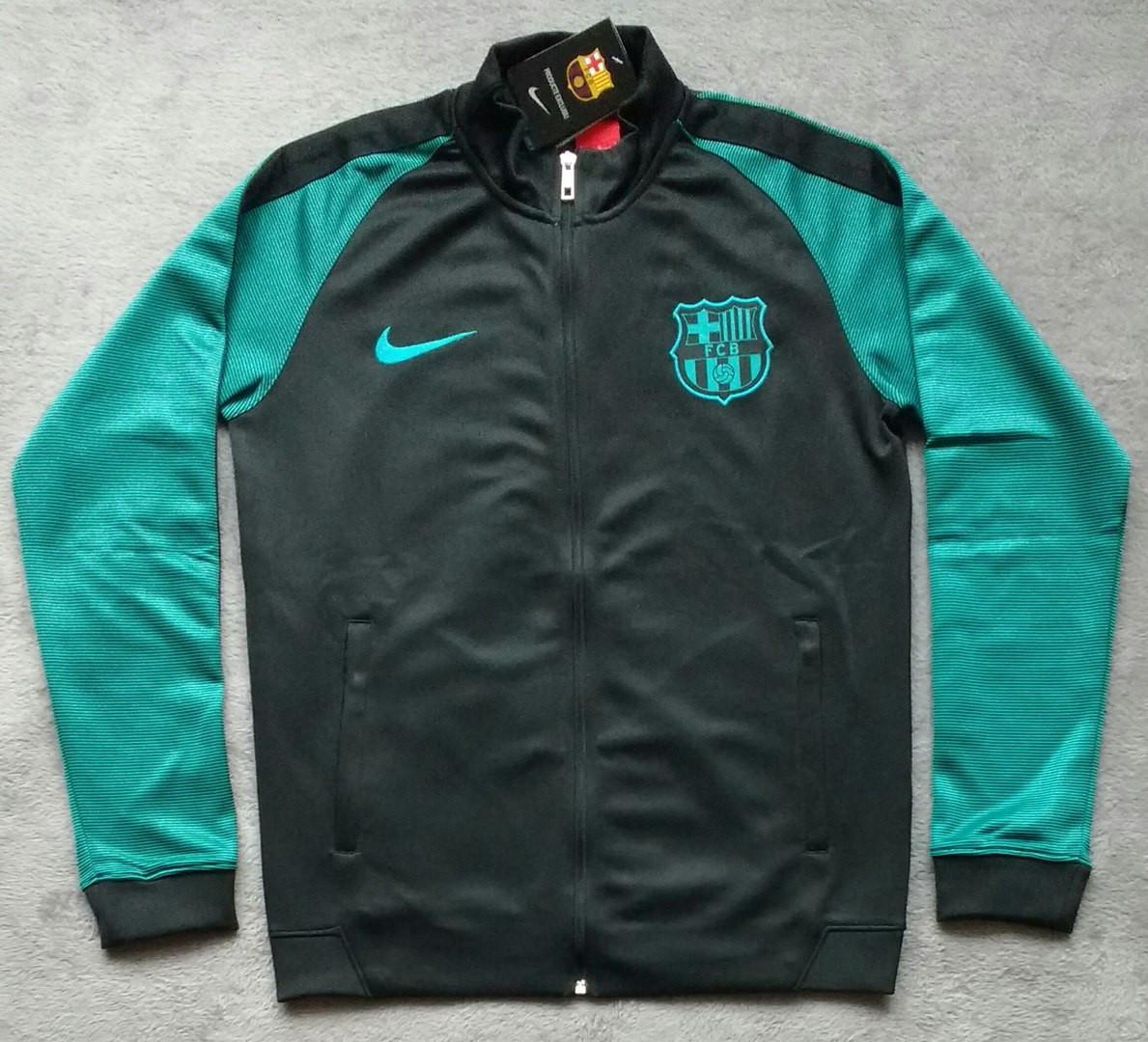 Олимпийка футбольная Барселона черно-зеленая