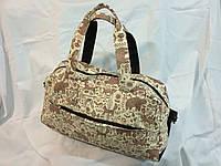 Женская спортивная сумка c модным принтом в бежевых тонах