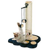 Комплекс когтеточка для кошек, два меховых шарика, синий (Карли-Фламинго)  37*37*49см
