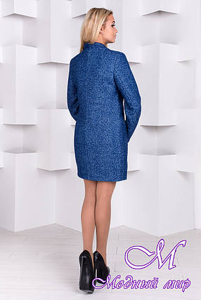 Женское ярко-синее демисезонное пальто (р.S, M, L) арт. Мидленд мелкое букле 10006, фото 2