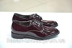 Женские туфли на шнуровке оксфорды лаковые бордовые  Marco