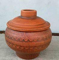 Горшок для запекания из красной глины с резьбой, 0,5 л.