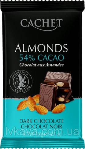 Черный  шоколад Cachet c миндалем , 300 гр