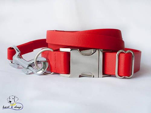 Ошейник из биотана, Красный, 19мм(метал.фастекс) 30см