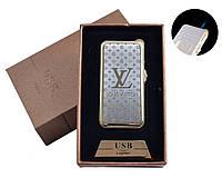"""Газовая USB-зажигалка """"Louis Vuttion"""" №4819-1, острое синее пламя или спираль накаливания, идея для подарка"""