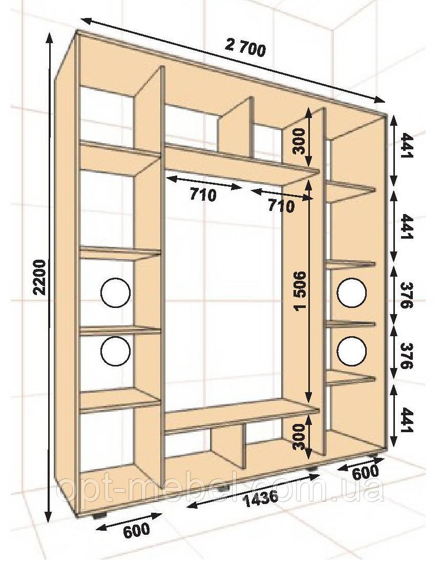 Шкаф-купе ШК-05 2700х600х2200