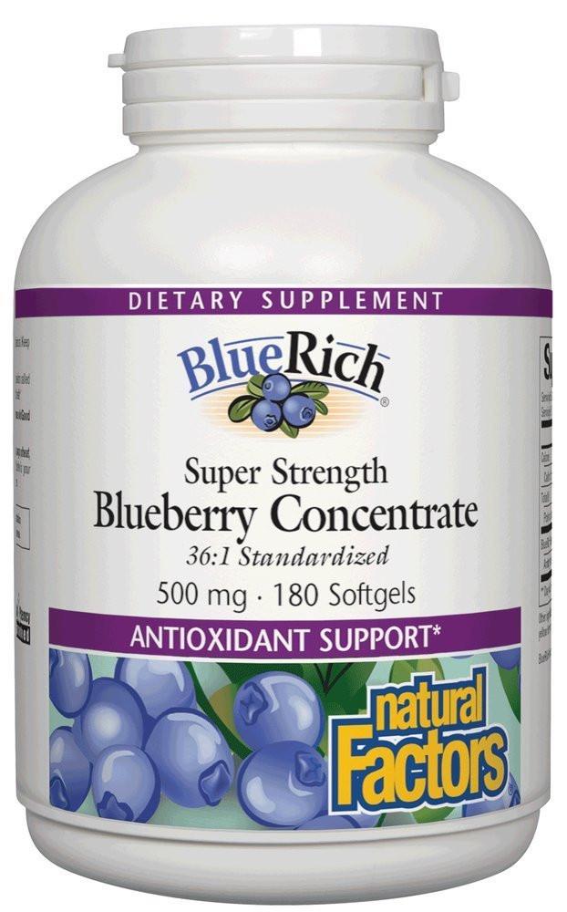 Экстракт голубики, Natural Factors, BlueRich, суперсила, 500 мг, 180 желатиновых капсул