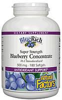 Экстракт черники, Natural Factors, BlueRich, суперсила, 500 мг, 180 желатиновых капсул