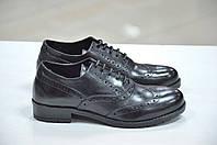 Женские итальянские кожаные чёрные туфли на шнуровке с перфорацией броги  Roberta Lopes
