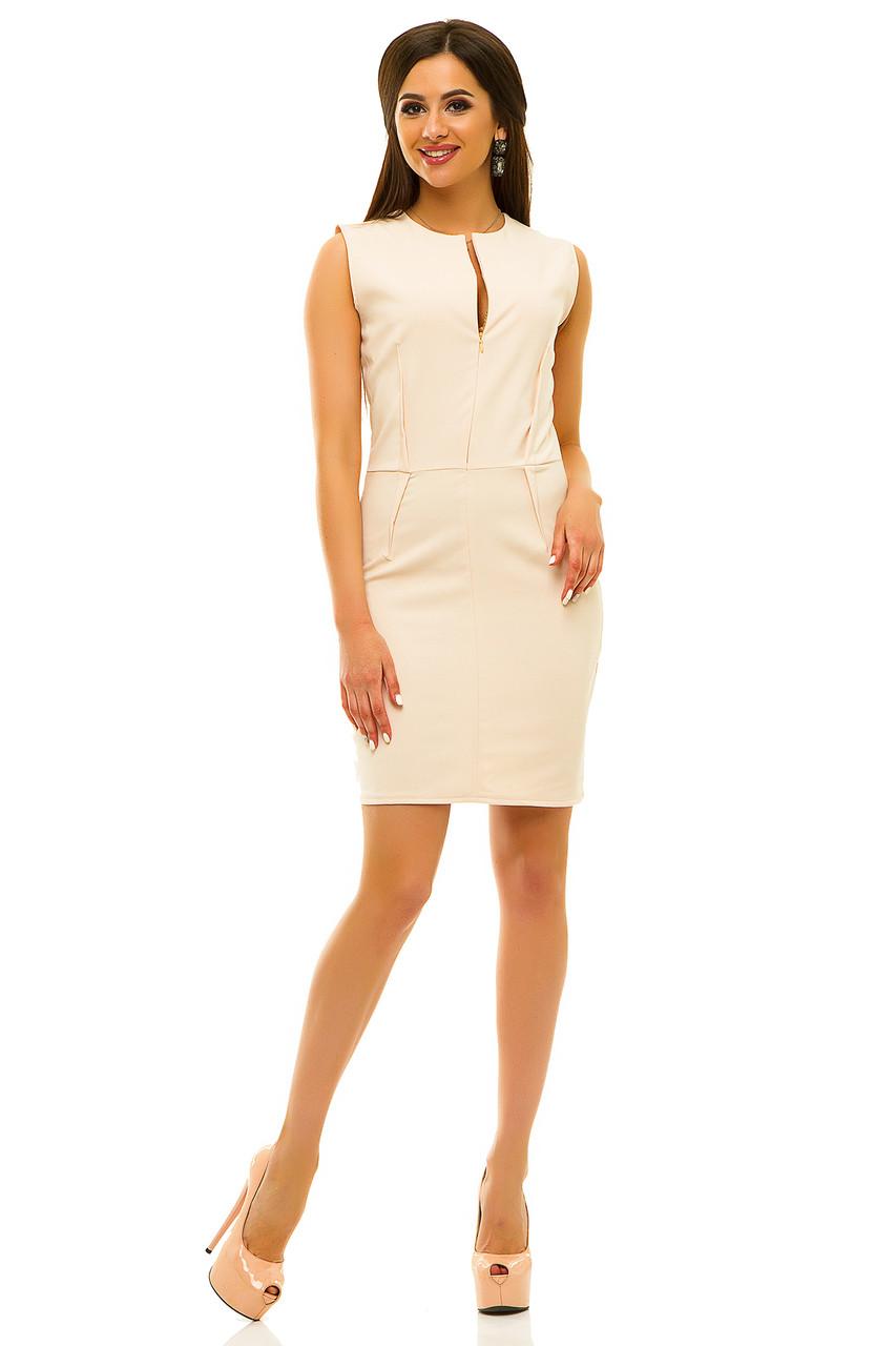 Платье 237 бежевое размер 44