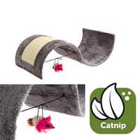 Когтеточка для кошек игровая площадка с игрушкой, волна, плюш/сизаль,54х36х15 см Карли-Фламинго