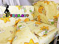 """Постельный набор в детскую кроватку (8 предметов) Premium """"Мишки на луне"""" желтый"""