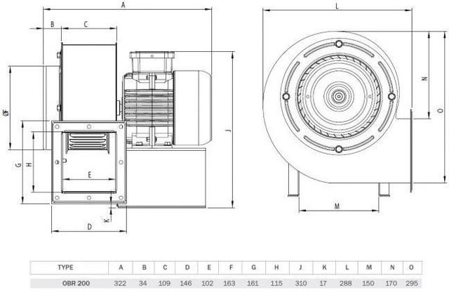 Схема вентилятора для промышленного котла большой мощности OBR-200