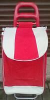 Сумка хозяйственная на колесах, кравчучка красная с белым