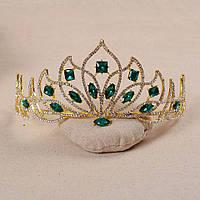 Корона, диадема, тиара, под золото с зелеными камнями, высота 7,5 см., фото 1
