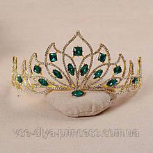 Корона, диадема, тиара, под золото с зелеными камнями, высота 7,5 см.