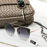 Женские брендовые очки копия Диор реплика круглые черные, фото 1