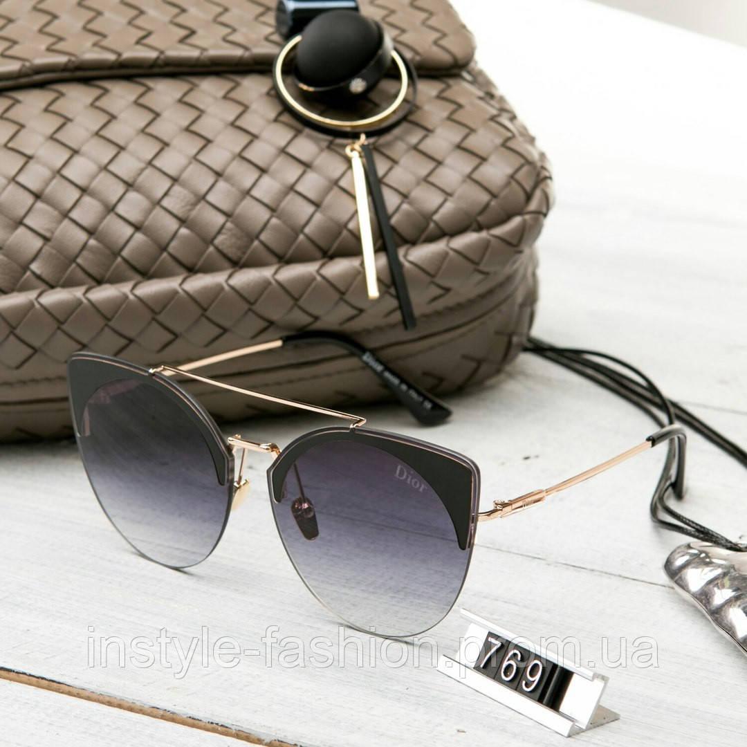 Женские брендовые очки копия Диор реплика круглые черные