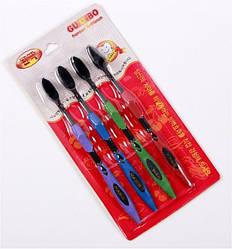 Бамбуковые угольные зубные щетки. Комплект 4 штуки.