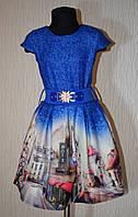 """Стильное платье для девочки 128-152 рост. Св. синий. """"Cihan"""" Турция."""